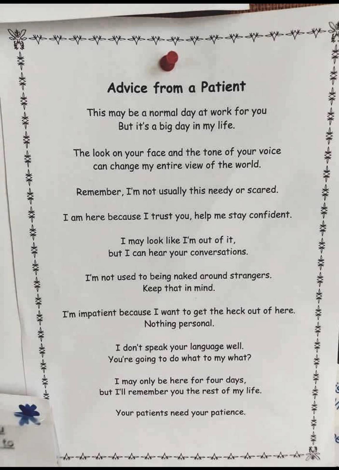 Conselho de um paciente